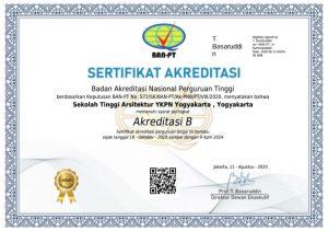 SEKOLAH TINGGI ARSITEKTUR YKPN YOGYAKARTA, telah mendapat Sertifikat Akreditasi B dari BAN-PT